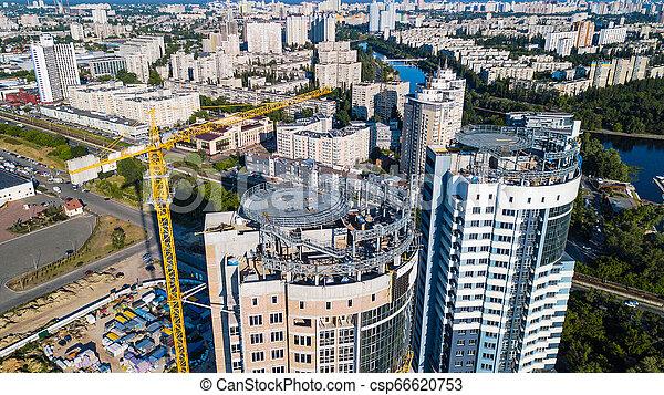 bâtiment, résidentiel, sommet, haut-ascension, site, construction, vue - csp66620753