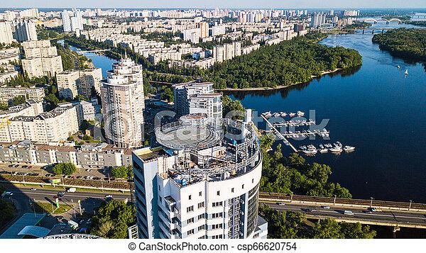bâtiment, résidentiel, sommet, haut-ascension, dniepr, site, construction, rivière, vue - csp66620754