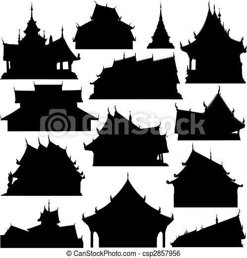 bâtiment, silhouettes, temple - csp2857956