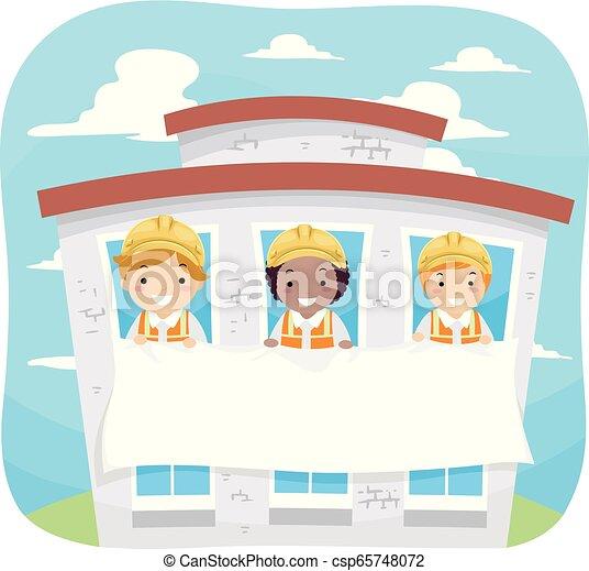 bâtiment, stickman, gosses, bannière, illustration - csp65748072