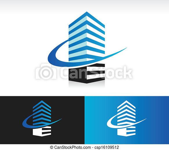 bâtiment, swoosh, moderne, icône - csp16109512
