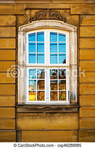bâtiment, vieux, danemark, jaune, façade, fenêtre, copenhague, blanc - csp46288985
