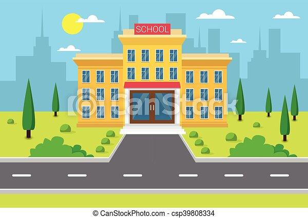 bâtiment, ville, école, vue extérieure - csp39808334