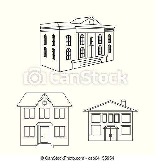 bâtiment, ville, ensemble, illustration., moderne, vecteur, conception, icon., stockage - csp64155954