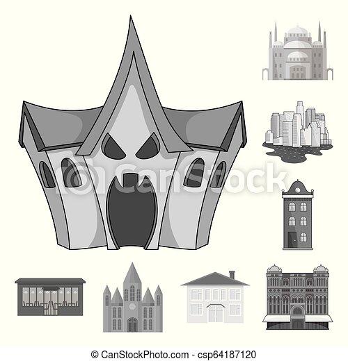 bâtiment, ville, ensemble, illustration., business, objet, isolé, vecteur, icon., stockage - csp64187120