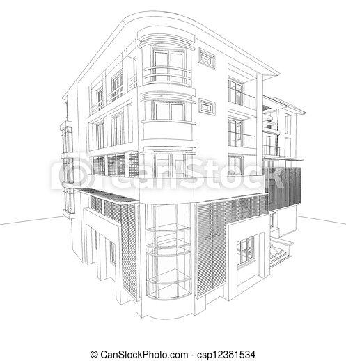 bâtiment, wireframe, moderne - csp12381534
