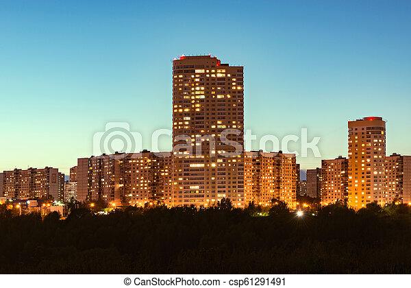 bâtiments, appartement, coucher soleil, time., extérieur - csp61291491