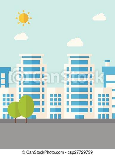 bâtiments, arbres - csp27729739