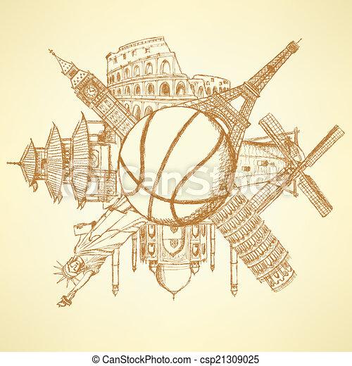 bâtiments, basket-ball, autour de, célèbre, balle, architecture - csp21309025