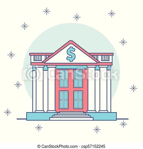 bâtiments, dessin animé, banque - csp57152245