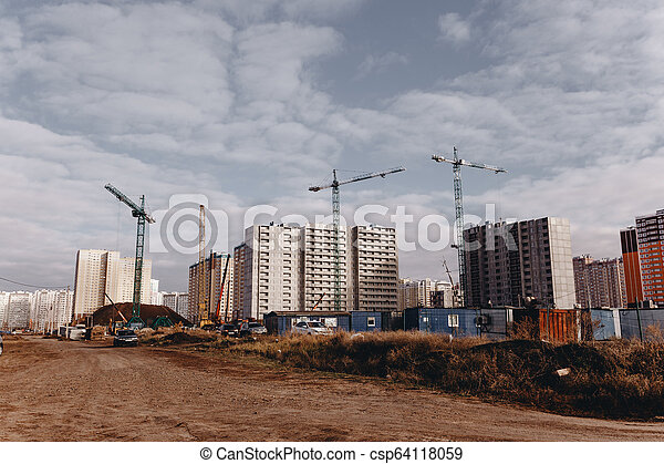 bâtiments, grues, résidentiel, haut-ascension, site, construction, vue - csp64118059