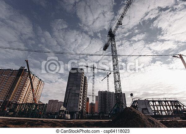 bâtiments, grues, résidentiel, haut-ascension, site, construction, vue - csp64118023