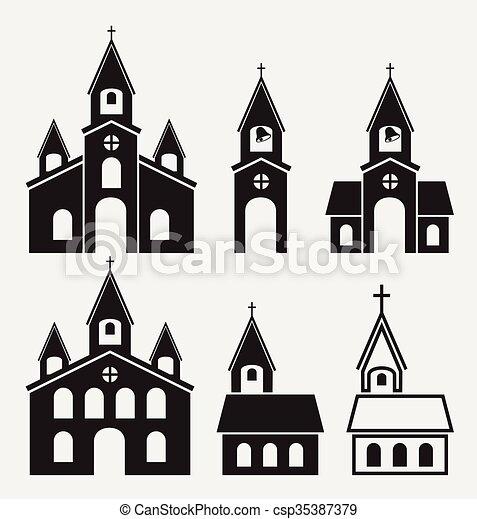 Vecteurs illustration de b timents ic nes vecteur noir - Eglise dessin ...
