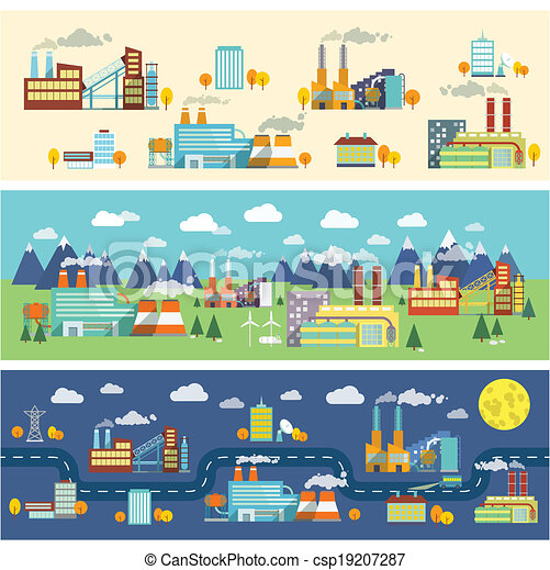 bâtiments, industrie, bannières horizontales - csp19207287
