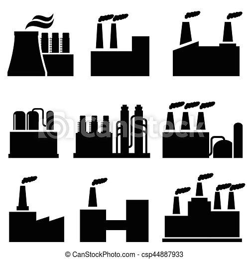 bâtiments, industriel, usine, pollution - csp44887933