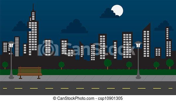 bâtiments, nuit, parc, rue - csp10901305