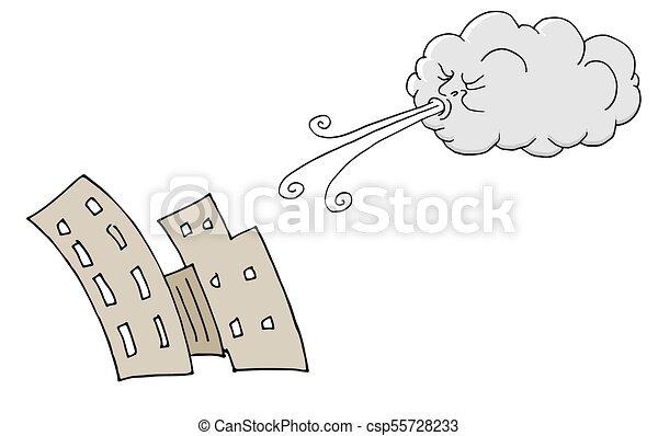 bâtiments, souffler, venteux, vent, jour, nuage - csp55728233