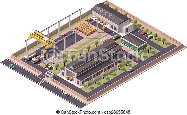 bâtiments, vecteur, isométrique, icône, usine - csp28655848