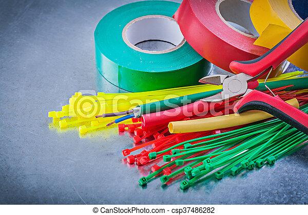 Bänder, drähte, elektrisch, kabel, plier, plastik, isolieren ...