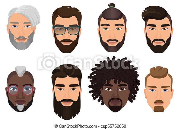 Bartig Bunte Isolated Maenner Hufthosen Avatars Frisuren Schnurrbarte Barte Typen Karikatur Verschieden