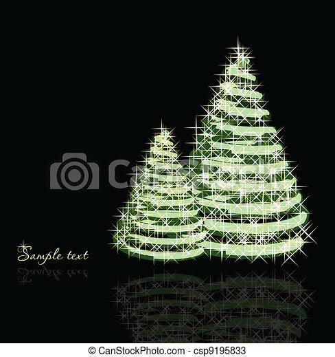 bäume., vektor, weihnachten, hintergrund - csp9195833