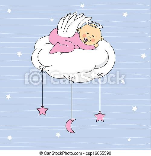 bébé, ange, girl, habillé - csp16055590