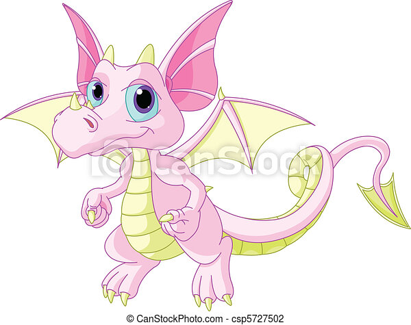 B b dessin anim dragon mignon illustration dragon - Dessin bebe dragon ...