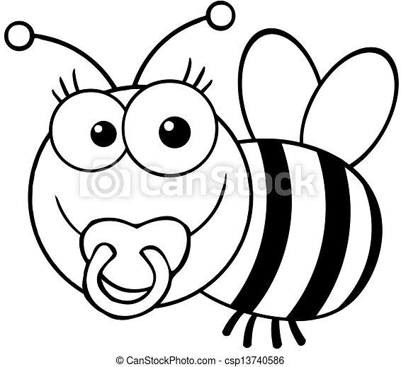 bébé, esquissé, abeille - csp13740586