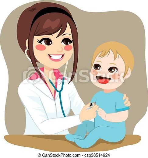 bébé, examiner, pédiatre - csp38514924