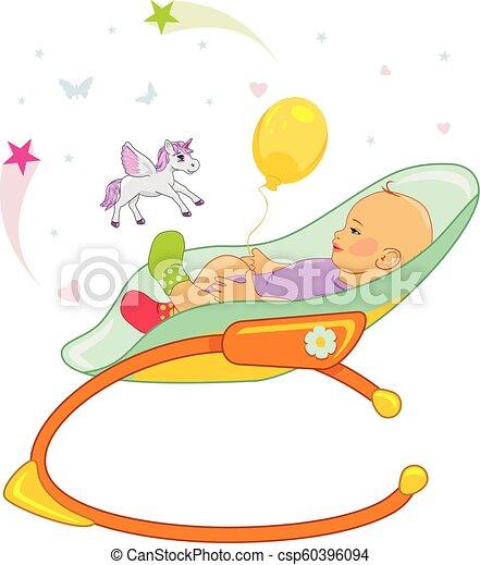 bébé, fauteuil bascule, heureux - csp60396094