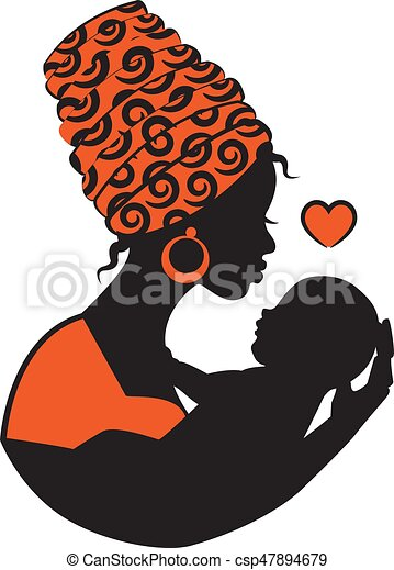 Dessin De Femme Africaine bébé, femme, africaine. foulard, femme, silhouette, fronde