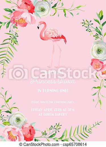 Bebe Flamant Rose Carte Anniversaire Invitation Beau Arrivee Flamant Rose Annonce Illustration Fleurs Anniversaire Canstock