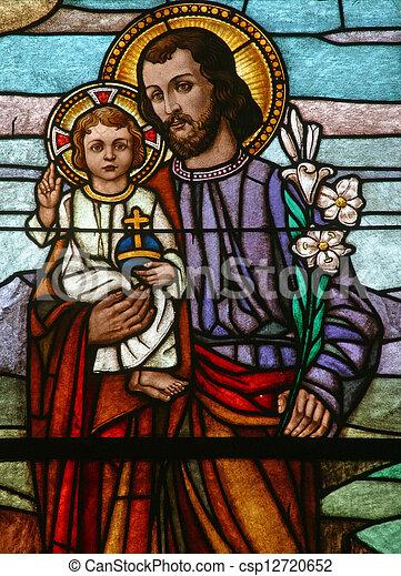 bébé, joseph, saint, tenue, jésus - csp12720652