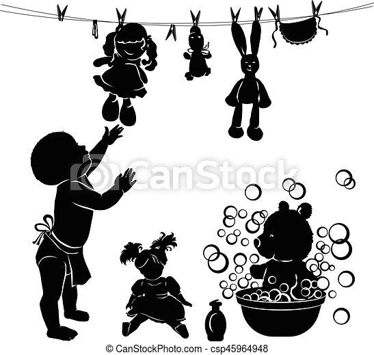 bébé, lave, silhouette, jouets - csp45964948