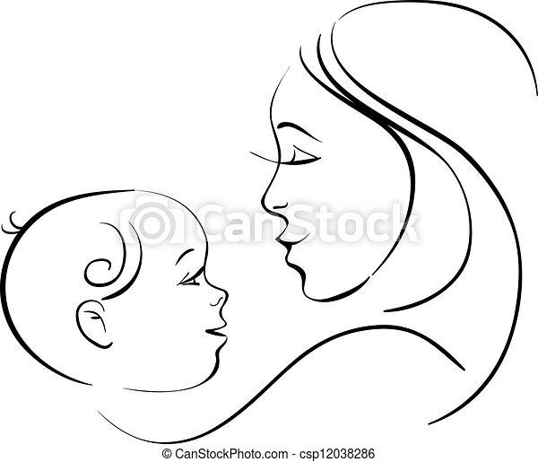 bébé, mère - csp12038286