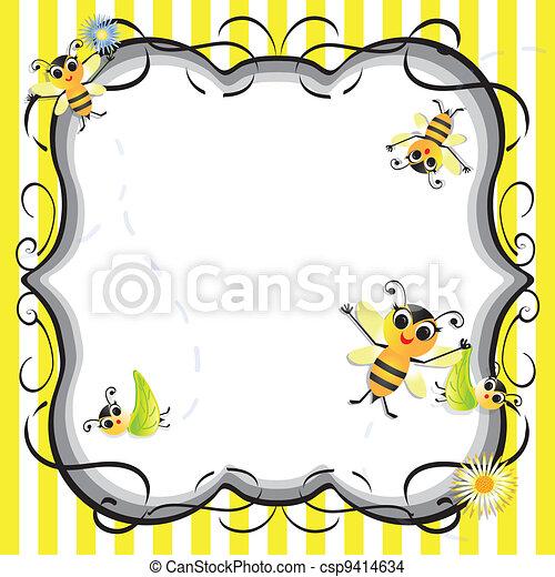 bébé, mignon, abeille, douche, fête - csp9414634