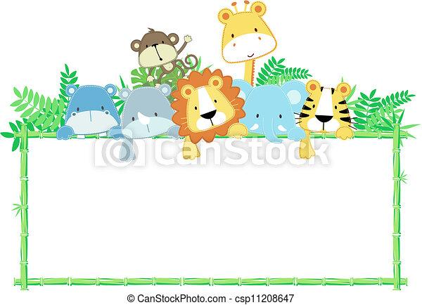 bébé, mignon, cadre, animaux, jungle - csp11208647