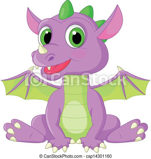 bébé, mignon, dessin animé, dragon - csp14301160