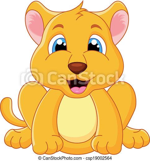 Bébé Mignon Lion Dessin Animé Mignon Illustration Lion