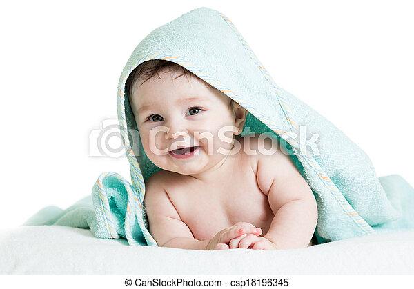 bébé, mignon, serviettes, heureux - csp18196345