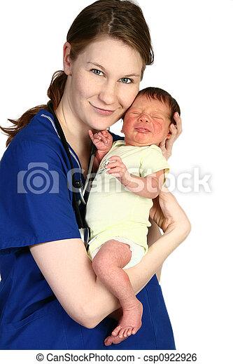 bébé, nouveau né, infirmière - csp0922926