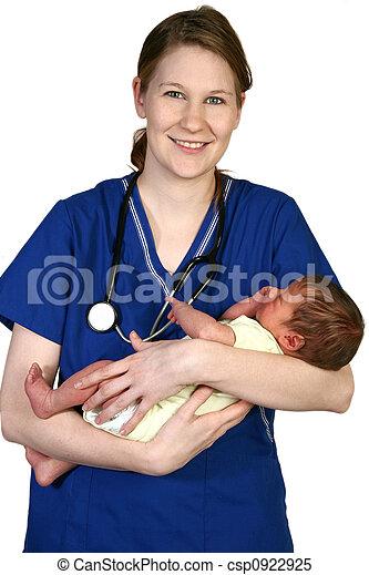 bébé, nouveau né, infirmière - csp0922925