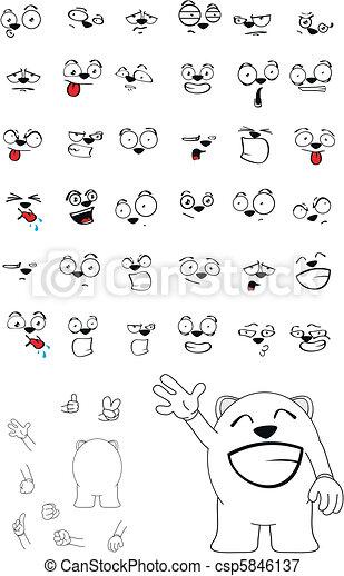 Bébé Ours Blanc Dessin Animé Set10