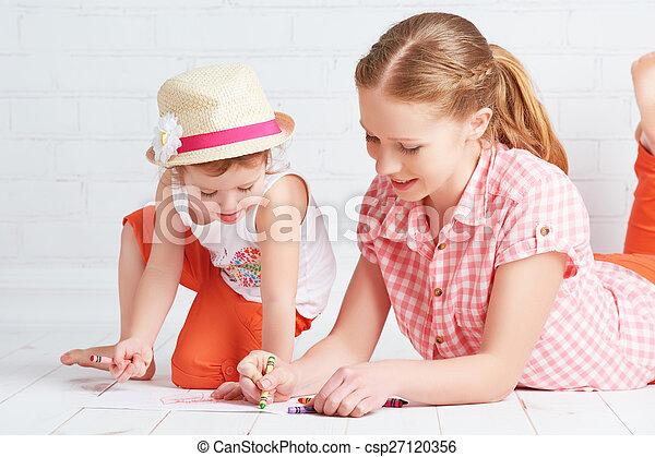 bébé, peinture, fille, ensemble, mère - csp27120356