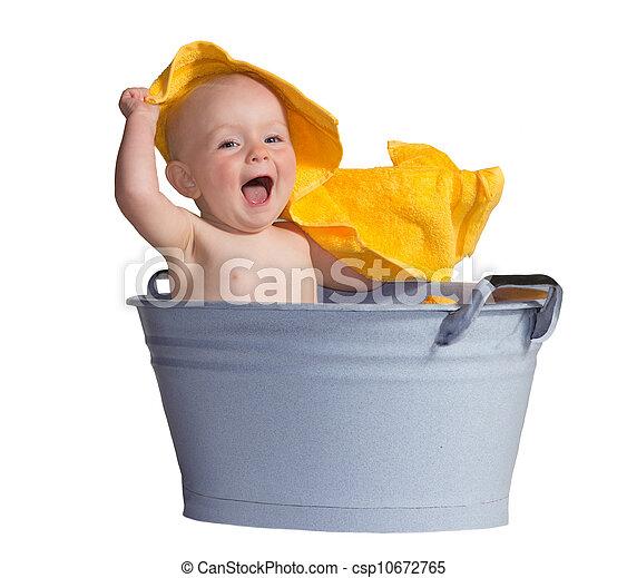 bébé, peu, joyeux, bain - csp10672765