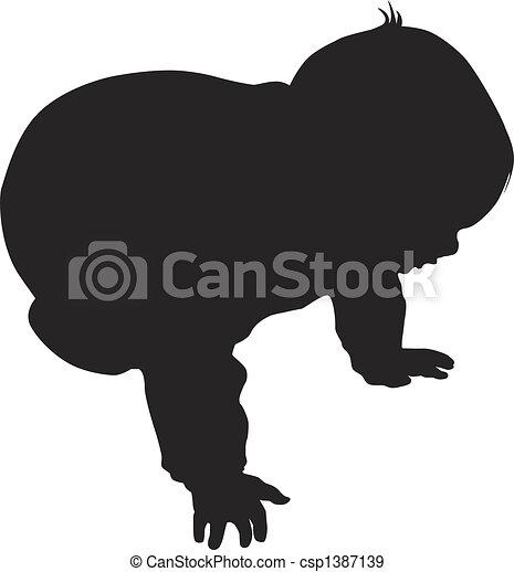 bébé, peu, vecteur, silhouette - csp1387139