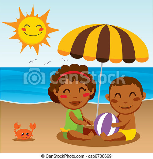 bébé, plage, heureux - csp6706669