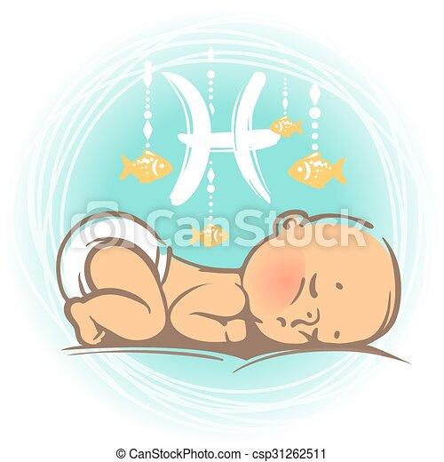 bébé, poissons, zodiaque - csp31262511