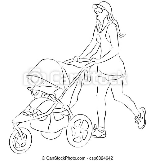 B b pouss e poussette maman stroller b b image - Poussette dessin ...