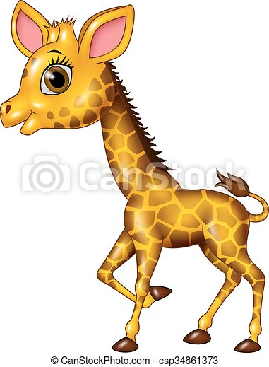 Dessin Girafe Rigolote bébé, rigolote, girafe, dessin animé, isolé. rigolote, isolé